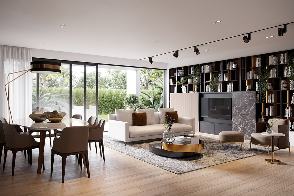 4 Bedroom - Living room, interiors in warm-colour palette reflecting a sophisticated and elegant design